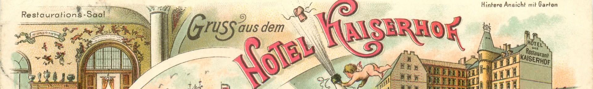 Plakaat van de geschiedenis van het Hotel Kaiserhof