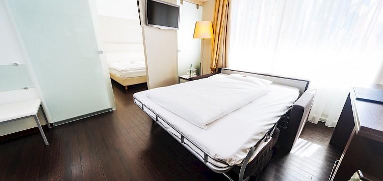 Het bed voor de kinderen is in een handomdraai opgemaakt